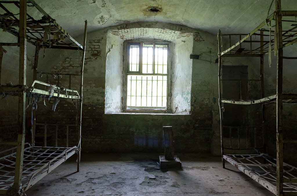 Cell at the abandoned Fort 13 Jilava Prison in Romania