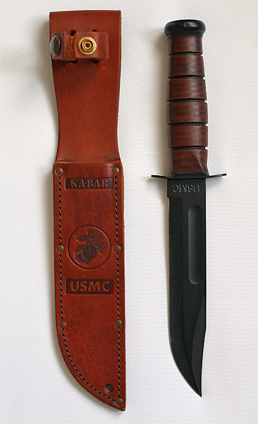 KA-BAR USMC Fighting/Utility Fixed Blade Knife with Brown Leather Sheath - The Most Essential Survival Gear / Equipment